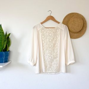 Anthropologie Maeve Cream Embroidered LS Blouse